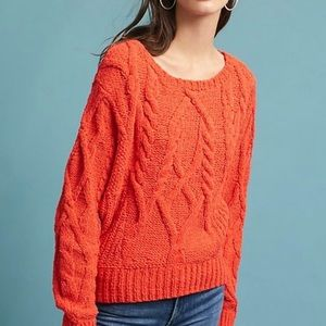 Anthropologie Coral Cabled Chenille Pullover Sz. S